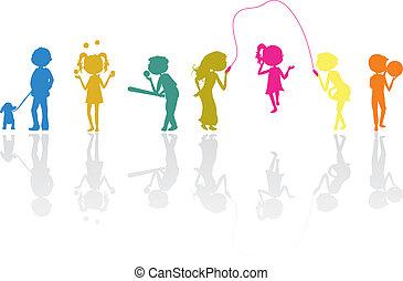 silhouettes, kinderen, sporten, actief