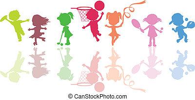 silhouettes, kinderen, sporten