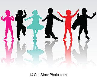 silhouettes, kinderen, vrolijke