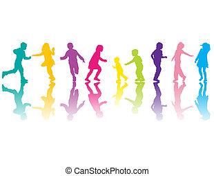 silhouettes, kleurrijke
