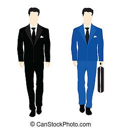 silhouettes, kostuum, zakenlui