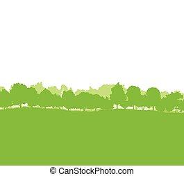 silhouettes, landscape, bos, bomen