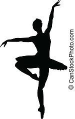 silhouettes, meisje, dans, ballet