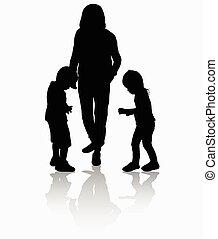 silhouettes, mensen, buitenshuis