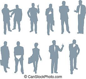 silhouettes, mensen, kantoor, zakelijk