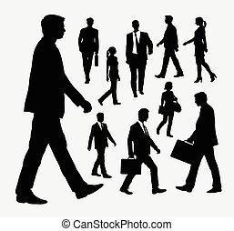 silhouettes, mensen lopend