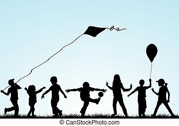 silhouettes, park, spelende kinderen