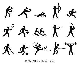 silhouettes, pictogram, mensen, sportende