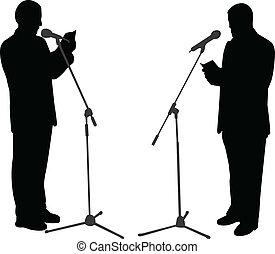 silhouettes, publiek sprekend