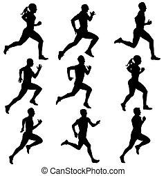 silhouettes., rennende , vector, set, illustration.