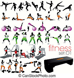 silhouettes, set, 40, fitness