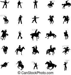silhouettes, set, cowboy