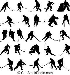 silhouettes, set, hockey