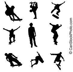 silhouettes, skater, verzameling