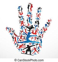 silhouettes, sporten, hand