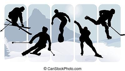 silhouettes, sportende, winter