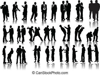 silhouettes., vector, illustra, mensen