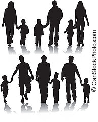 silhouettes, vector, ouders, kinderen