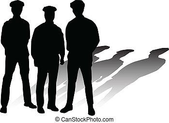 silhouettes, vector, politie