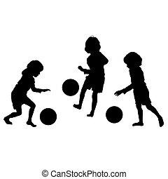 silhouettes, vector, voetbal, kinderen