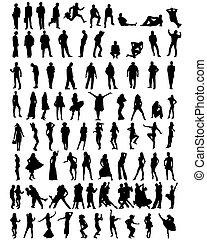 silhouettes, verzameling, mensen