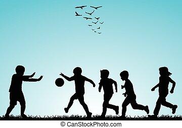 silhouettes, voetbal, kinderen spelende