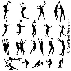 silhouettes, volleybal, verzameling