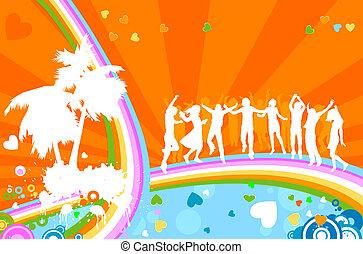 silhouettes, volwassenen, party;, jonge