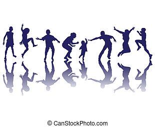 silhouettes, vrolijke , kinderen