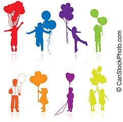 silhouettes, weerspiegelen, gekleurde