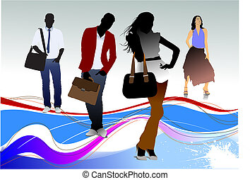 silhouettes, werkkring mensen