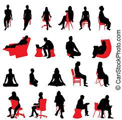 silhouettes, zittende , mensen