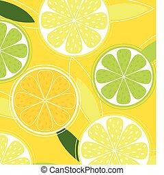 sinaasappel, fruit, achtergrond, citroen, -, vector, citrus, kalk