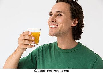 sinaasappel, glas, jonge, drinkt, het glimlachen, brunette, beeld, man, sap