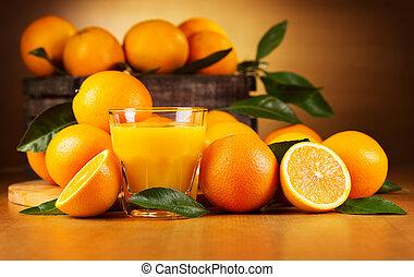 sinaasappel, glas, sap