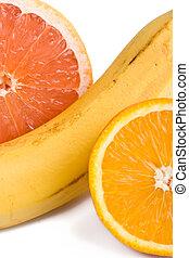 sinaasappel, grapefruit, op, banaan, afsluiten