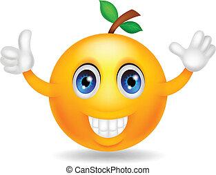 sinaasappel, karakter, spotprent