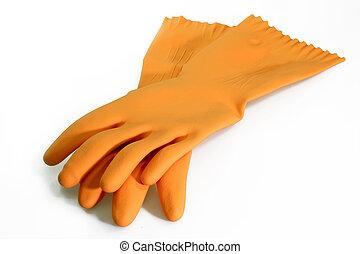 sinaasappel, rubberhandschoen