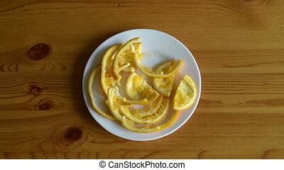 sinaasappel, schaaltje, schil, het verwijderen