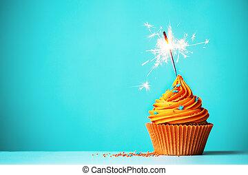 sinaasappel, sparkler, cupcake