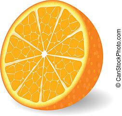 sinaasappel, vector, fruit