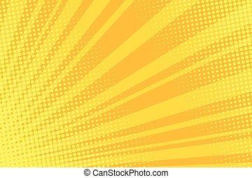 sinaasappel, warme, komisch, achtergrond, knallen, retro, kunst