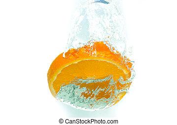 sinaasappel, water, gespetter