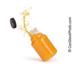 sinaasappelsap, gespetter, vrijstaand, fles
