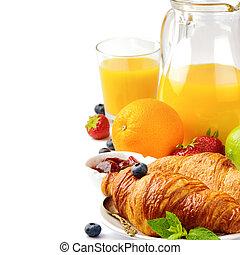 sinaasappelsap, ontbijt, fris, croissants