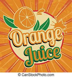sinaasappelsap, ouderwetse , poster