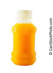 sinaasappelsap, vrijstaand, fles, plastic