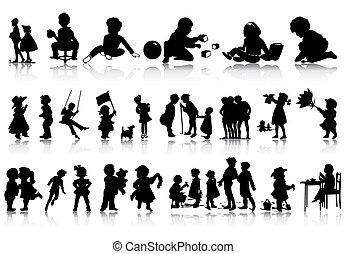 situations., illustratie, silhouettes, vector, gevarieerd, kinderen