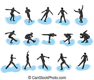 skating, silhouettes, set, grunge, figuur