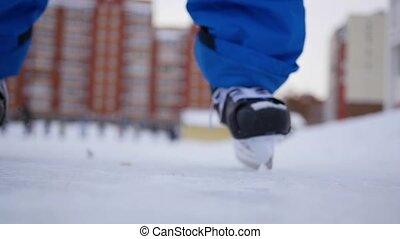 skating, winter, mensen, onscherpte, bewolkt, ring, open, dag
